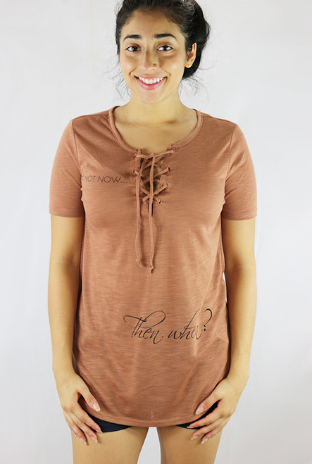 Short Sleeve Lace Up V-neck Graphic Rust Top (35-8)