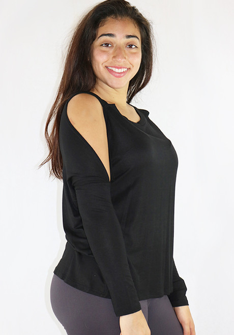 95% Rayon Long Sleeves Cold Shoulder Black Top (35-10)