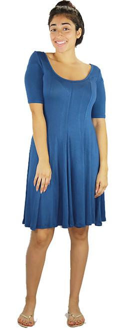 Short Sleeve Soft & Comfy Swing Blue Dress (35-18)