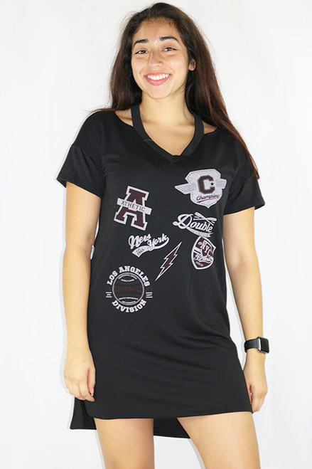 Black Graphic Sports Jersey Dress/Sleepwear (35-26)