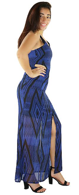 Sexy Blue & Black Aztec Print Cutout Maxi Dress (35-27)