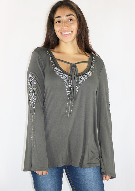 Dark Olive Long Sleeves w/Embroidery Self Tie Top (35-31)