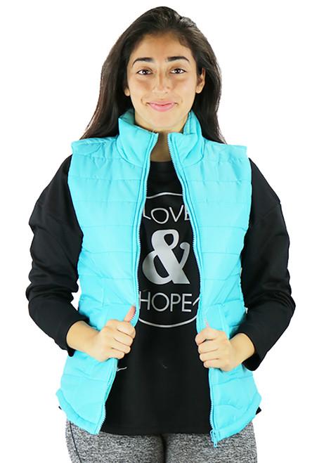Sleeveless Aqua Zipper Front Quilted Vest (35-34)
