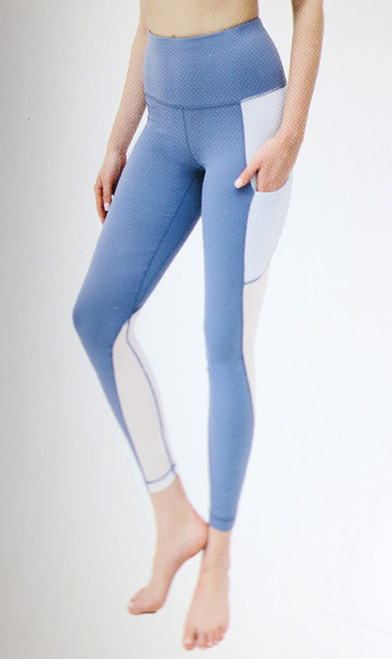 Blue Yoga Leggings w/Airflow Panels (39-1)