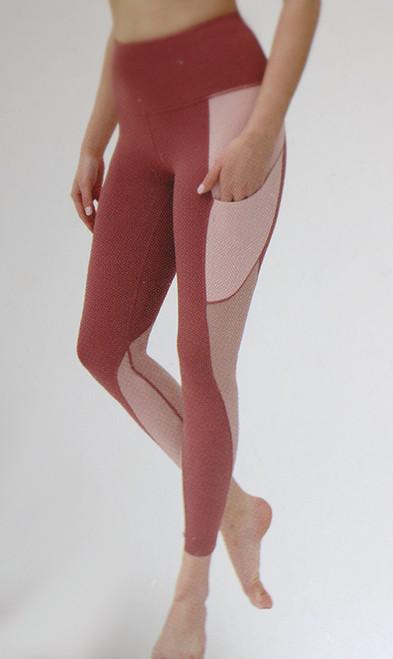 Rose Yoga Leggings w/Airflow Panels (39-2)