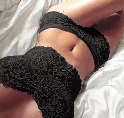 Sexy | Hot Black Lace Strapless Bodice Cami & Matching Panty Set (14-3)