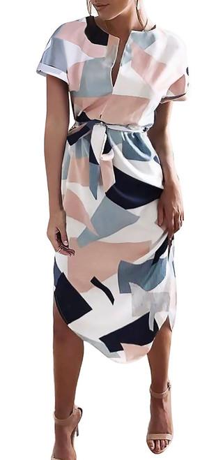 Geometric Short Sleeve Self Tie Pink   Navy Dress (14-4)