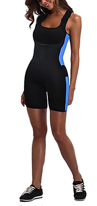Get Your  Sweat On! Shapewear Bodysuit Black & Blue (14-11)