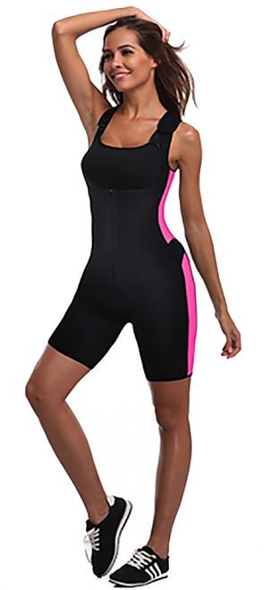 Get Your Sweat On! Shapewear Bodysuit Black & Pink (14-12)