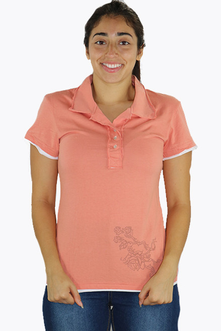 Junior 100% Cotton Short Sleeve Peach Top w/Rose Graphic (K-7)