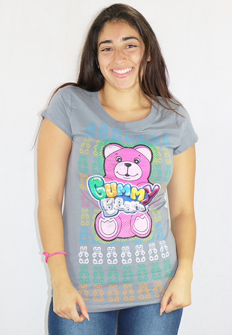 Junior 100% Cotton Gummy Bears Gray Tee Shirt (K-12)