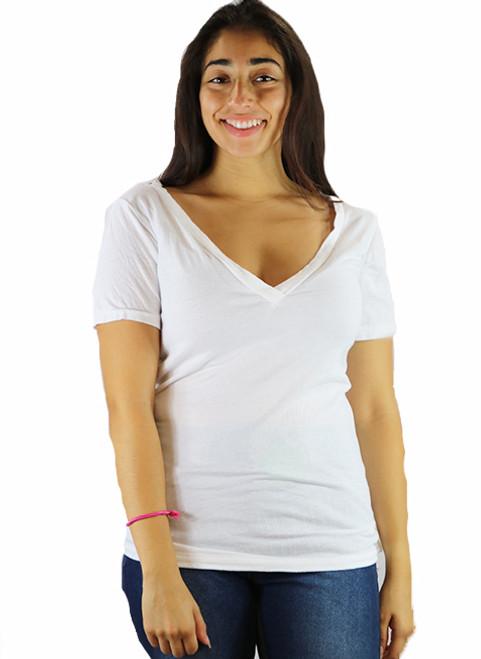 Short Sleeve Off White V Neck TEE (K-14)