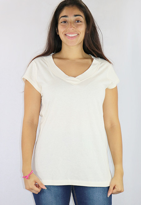 Cotton Cream Short Sleeve Tee V Neck (K-15)