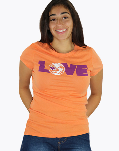 100% Cotton Major Brand Orange TEE w/LOVE Graphics (K-18)
