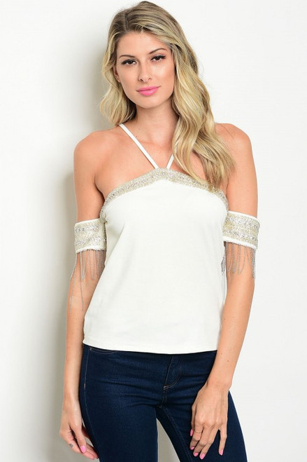 Sexy Halter w/Embellished Beaded Sleeves White Top (38-1)