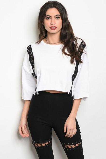 95% Cotton White Jersey Top w/Hook Eye Design (38-3)