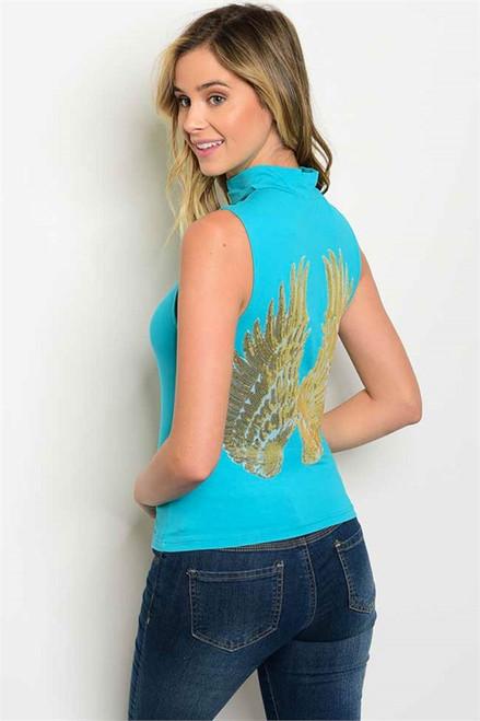 "Aqua Sleeveless Choker Top w/Sequin ""Wings of Angels""  (38-8)"