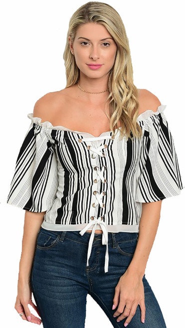 Flirty Off Shoulder Navy Stripe Top w/Lace Up Front (38-9)