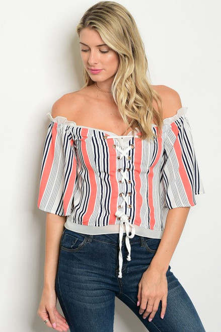 Flirty Off Shoulder Coral Stripe Top w/Lace Up Front (38-10)