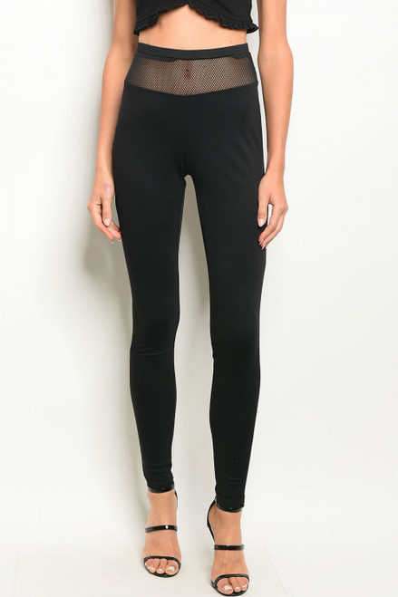 Black Leggings Features a Mesh Waist (38-17)