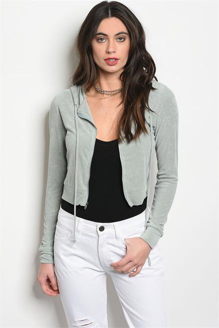 Long Sleeve Soft Hooded Zipper Sweater (38-19)