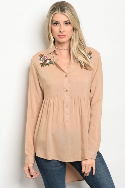 Tan Long Sleeve Collard Button Tunic Embroided Top (40-4)