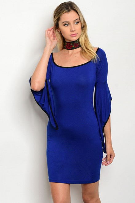 Sexy Bodycon Scoop Neck Bell Sleeve Royal Blue Dress (40-5)