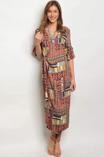 100% Rayon Aztec Print Wrap Maxi Dress (40-17)
