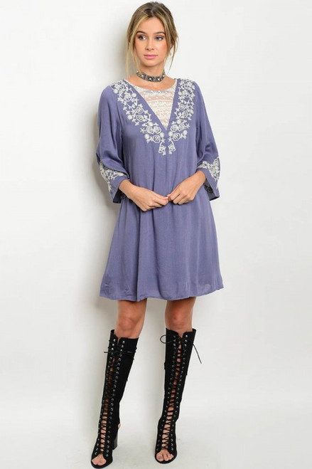 100% Rayon Flutter Sleeve Embroidery Tunic Indigo Dress (40-18)
