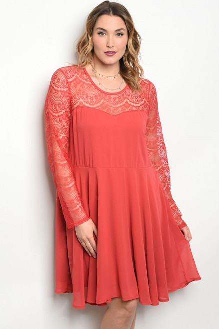 Plus Size Long Sleeve Skater Coral Dress. (40-19)