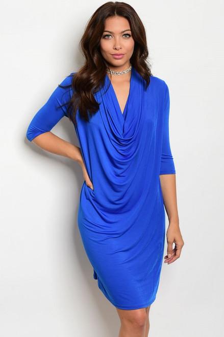 Elegant Waterfall Draped Front Royal Blue Dress (40-21)