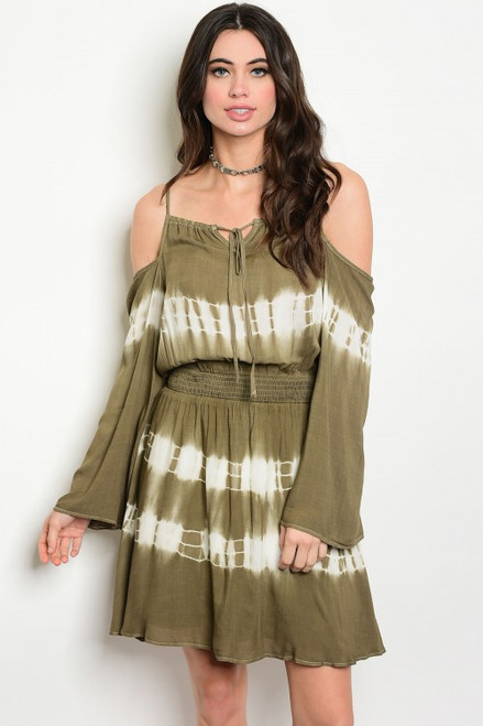 Tie Dyed Cold Shoulder Bell Sleeve Tunic Olive Dress (41-1)