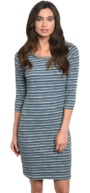 Nautical! Blue & Gray Striped Midi Dress Round Neck (41-3)
