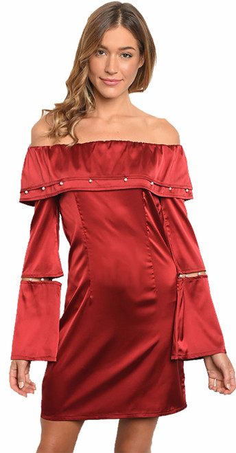 Satin Bell Sleeve Off Shoulder Sexy Wine Dress (41-7)