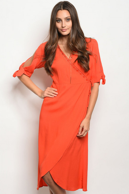 Tie-Open Sleeves Wrap Style Midi Scarlet Red Dress (41-8)