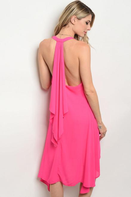 Elegant! Yet Sexy! Sleeveless Flowing Halter Fuchsia Dress (41-10)