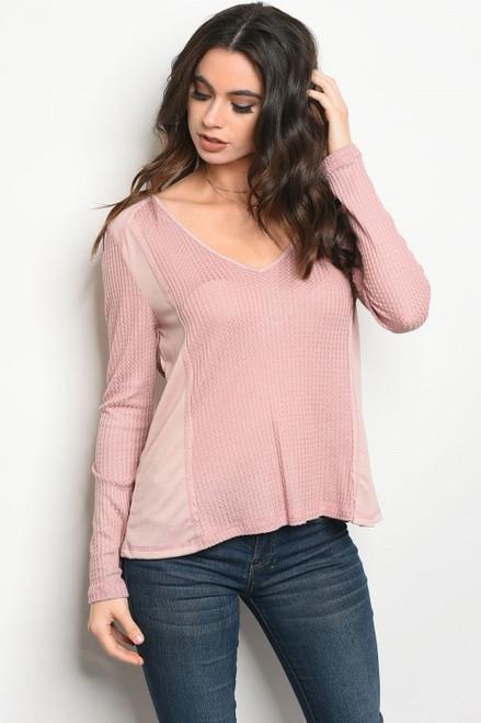 Long Sleeve Scoop Neck Comfy Light Pink Top (41-14)