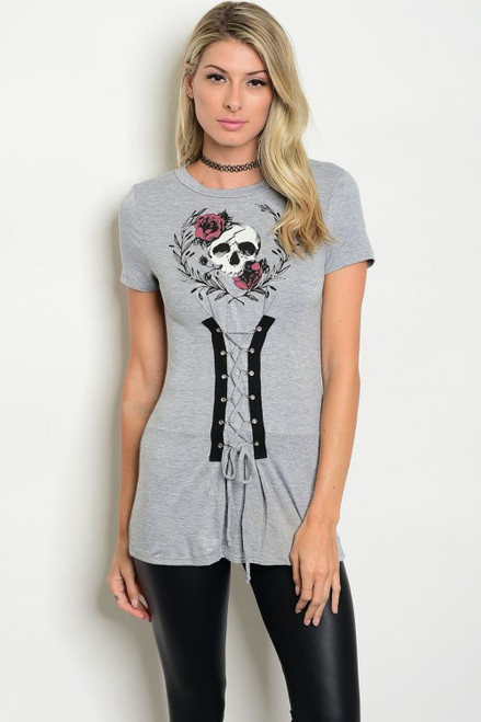 Short Sleeve Graphic Gray Top w/Corset Lace-Up Front (41-15)