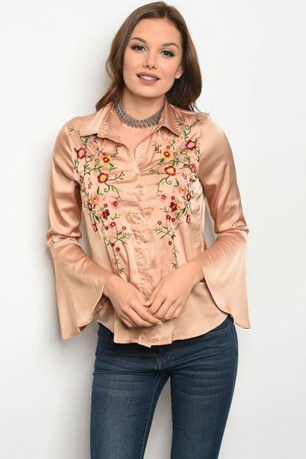 Bell Sleeve Tan Satin Button Up Top w/Floral Embroidery (41-26)