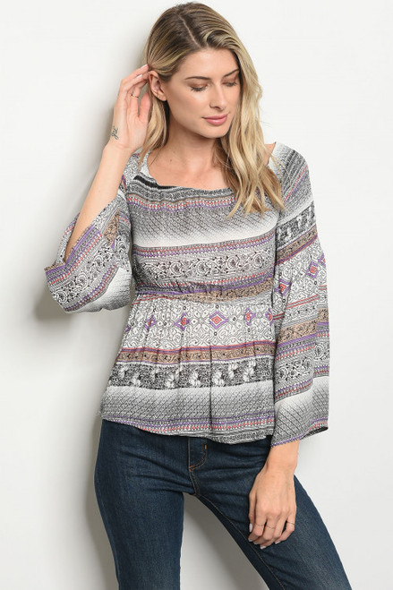 Long Bell Sleeve Baby doll Top Aztec Multi Color Print (41-28)