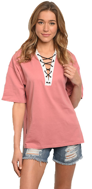 100% Cotton Dusty Rose Short Sleeve Collared Lace Up Shirt (41-29)