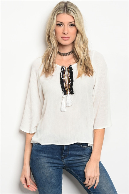 100% Rayon Off White Flutter Sleeve Tunic Top (41-31)