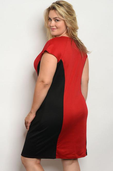 e0819d9dda Trendy Plus Size Cap Sleeve Black   Red Dress (41-34 ...