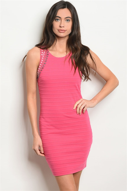 Sexy Sleeveless Scoop Neck Rhinestone Fuchsia Dress (42-1)