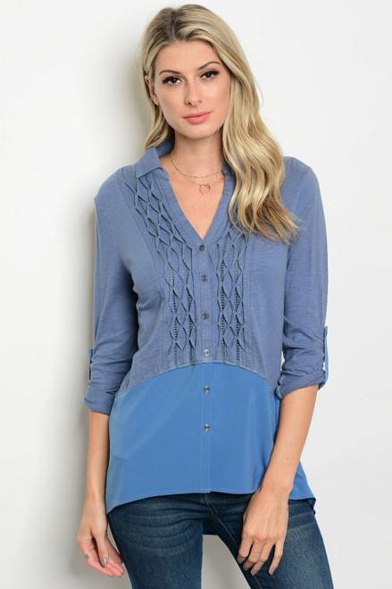 100% Cotton 3/4 Sleeve Collard Button Denim Blue Tunic Top (42-2)