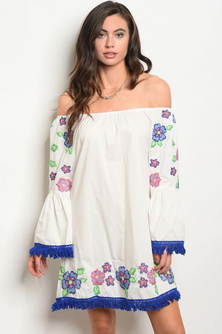 Off Shoulder Boho Embroidery Off White Dress (42-3)