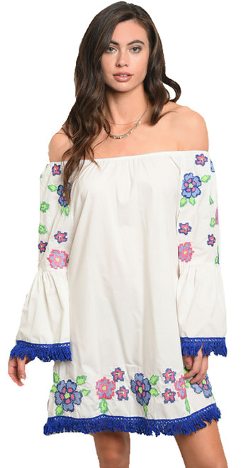 Off Shoulder Boho Embroidery Off White Dress (42-3)