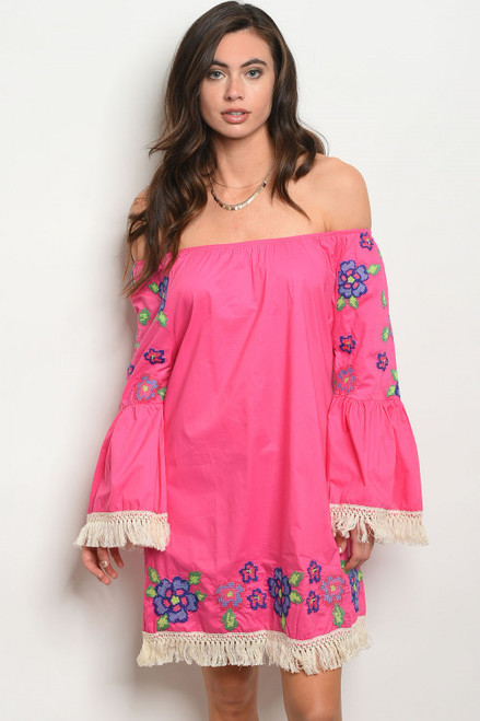 Off Shoulder Boho Embroidery Fuchsia Dress (42-4)