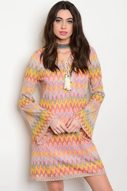 Bell Long Sleeve Zig Zag Lace Multi Color Mini Dress (42-7)
