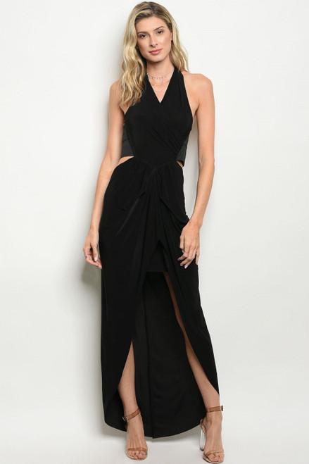 Sexy Halter Plunging Neckline Black Dress (42-9)